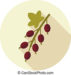 Currant flat icon with long shadow