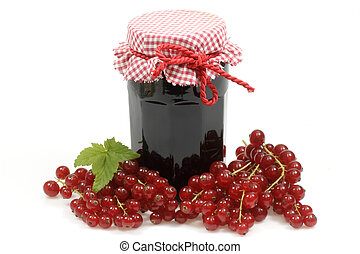 Currant jelly - Red jelly in a glass with fresh currants...