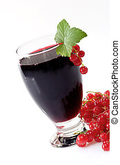 Currant Juice - A glass of black currant juice with garnish...