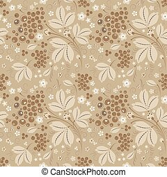 Currant seamless pattern in beige color scheme