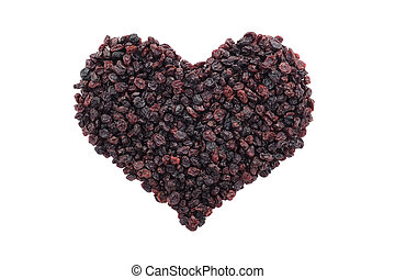 Currants in a heart shape