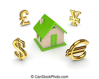 Currencies around small house.