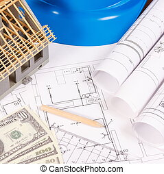 Currencies dollar, electrical diagrams, accessories for engineer jobs and house under construction, building home cost concept
