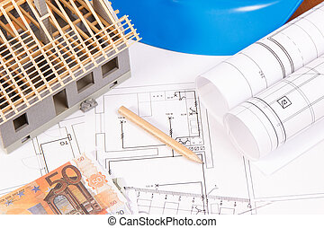 Currencies euro, electrical diagrams, accessories for engineer jobs and house under construction, building home cost concept