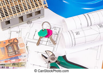 Currencies euro, home keys, electrical diagrams for engineer jobs and house under construction, building home cost
