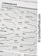 Currencies exchange rate on newspaper