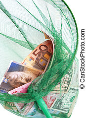 currencies in a fishing net