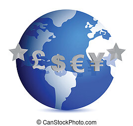 currencies of the world illustration design over white