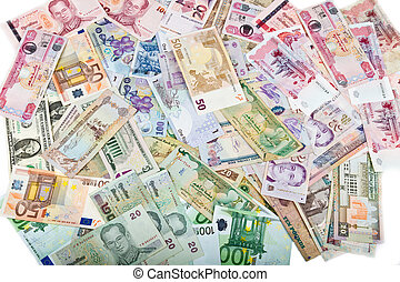 Currencies, worldwide money, banknotes, exchange rate, Dollar, euro, Lei, Rial, Peso, Bath, Rupee