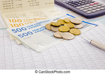currency and paper money of Denmark, saving account and...
