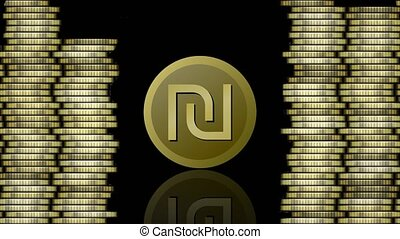 Currency animation, israeli shekel symbolic coin appearing ,...