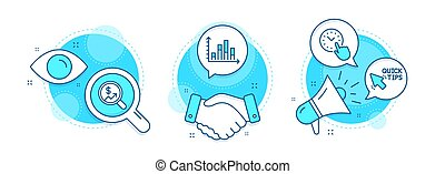 Currency audit, Quick tips and Diagram graph icons set. Time management sign. Vector