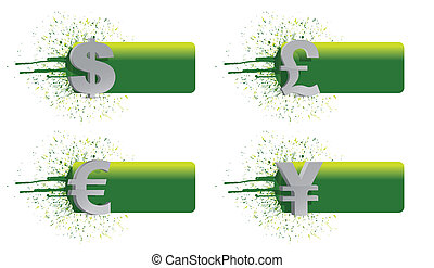 currency banners ink illustration
