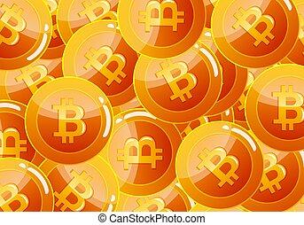 currency., bitcoin, virtuel, cryptocurrency, monnaie, icône