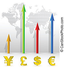 Currency business graph illustration design and world map