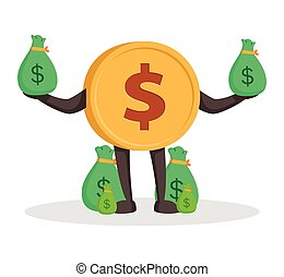 currency character dollar with money sacks