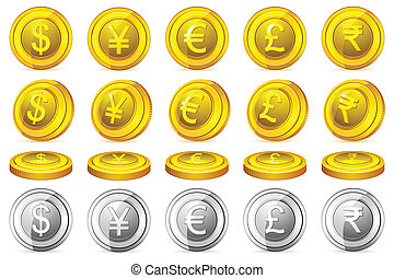 Currency Coin - illustration of gold and silver coin of...