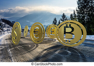 Currency coin race to the top. cold winter mountain...
