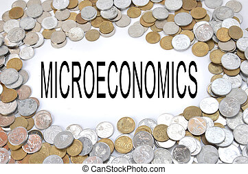 currency coins Indonesia - microeconomics word on white ...