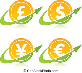 Currency Coins with Arrow