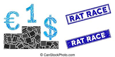 Currency Competition Mosaic and Grunge Rectangle Rat Race Stamp Seals