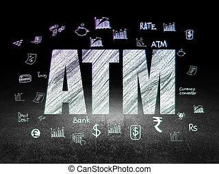 Currency concept: ATM in grunge dark room