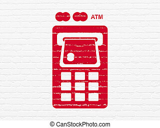 Currency concept: ATM Machine on wall background