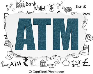 Currency concept: ATM on Torn Paper background