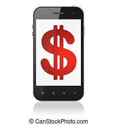 Currency concept: Dollar on smartphone