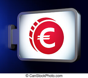 Currency concept: Euro Coin on billboard background