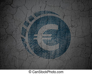 Currency concept: Euro Coin on grunge wall background