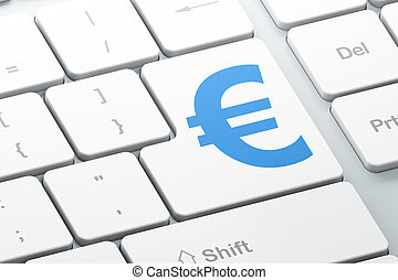 Currency concept: Euro on computer keyboard background -...