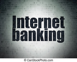 Currency concept: Internet Banking on Digital Data Paper background