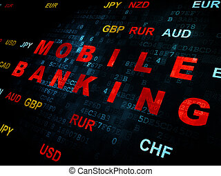 Currency concept: Mobile Banking on Digital background
