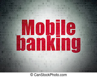 Currency concept: Mobile Banking on Digital Data Paper background
