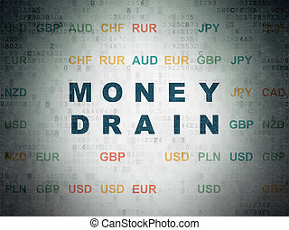 Currency concept: Money Drain on Digital Data Paper background