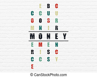 Currency concept: Money in Crossword Puzzle