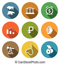 Currency devaluation Icons Set. Vector Illustration.