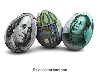 Currency eggs - Illustration of dollar, euro and chinese...