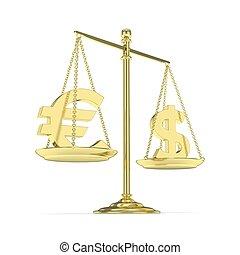 currency., escalas, rendering., 3d