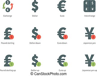 Currency Exchange color icons on white background.
