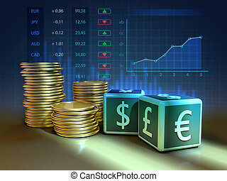 Currency exchange composition - Two dices with currency...
