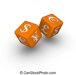 currency exchange dice icon   (3D crossword orange series)