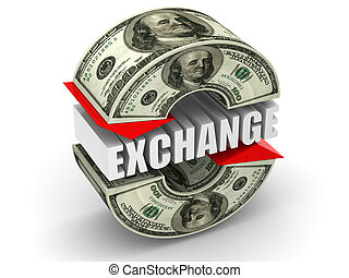 Currency exchange. dollar. 3d