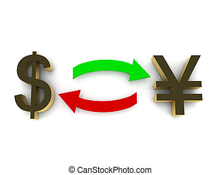Currency exchange. Dollar and yen isolated on white background. High quality 3d render.