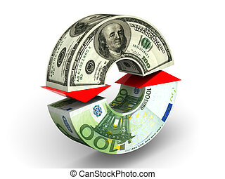 Currency exchange. dollar. Euro. 3d