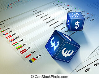 Currency exchange - Two dices with currency symbols rolling...