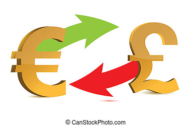 Currency exchange. euro and pound