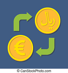 Currency exchange. Euro and Rial.