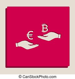 Currency exchange from hand to hand. Euro an Bitcoin. Vector. Grayscale version of Popart-style icon.